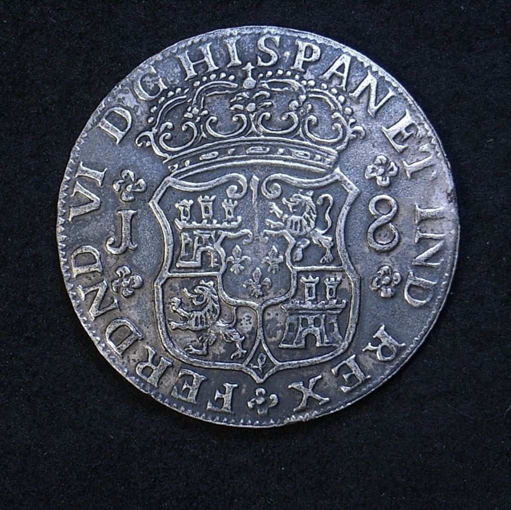 Contemporary counterfeit 8 Reales 1752 shield side