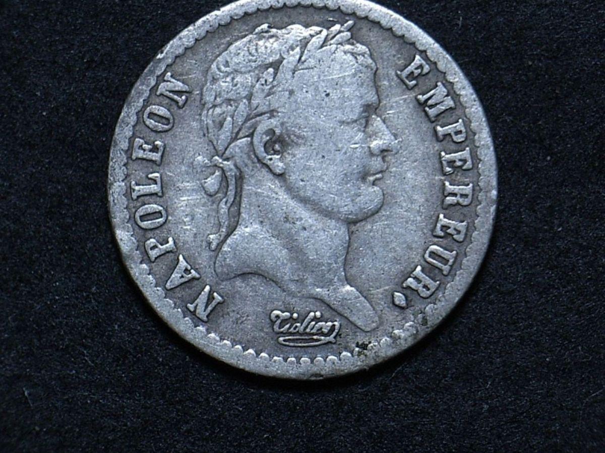 Close up of French 1809 demi franc highlighting Napoleon Bonaparte's portrait