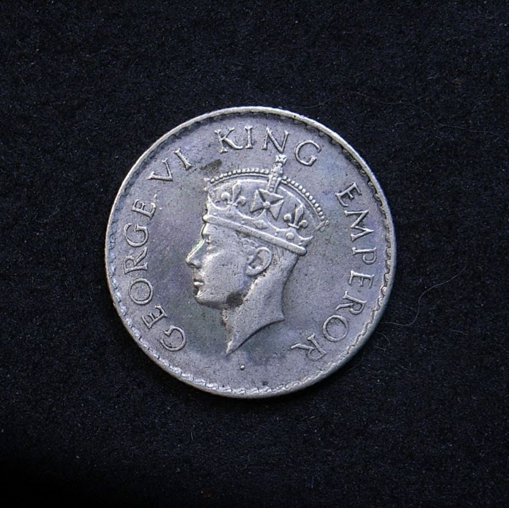 Close up of Indian Qtr rupee 1940 obverse showing the detail