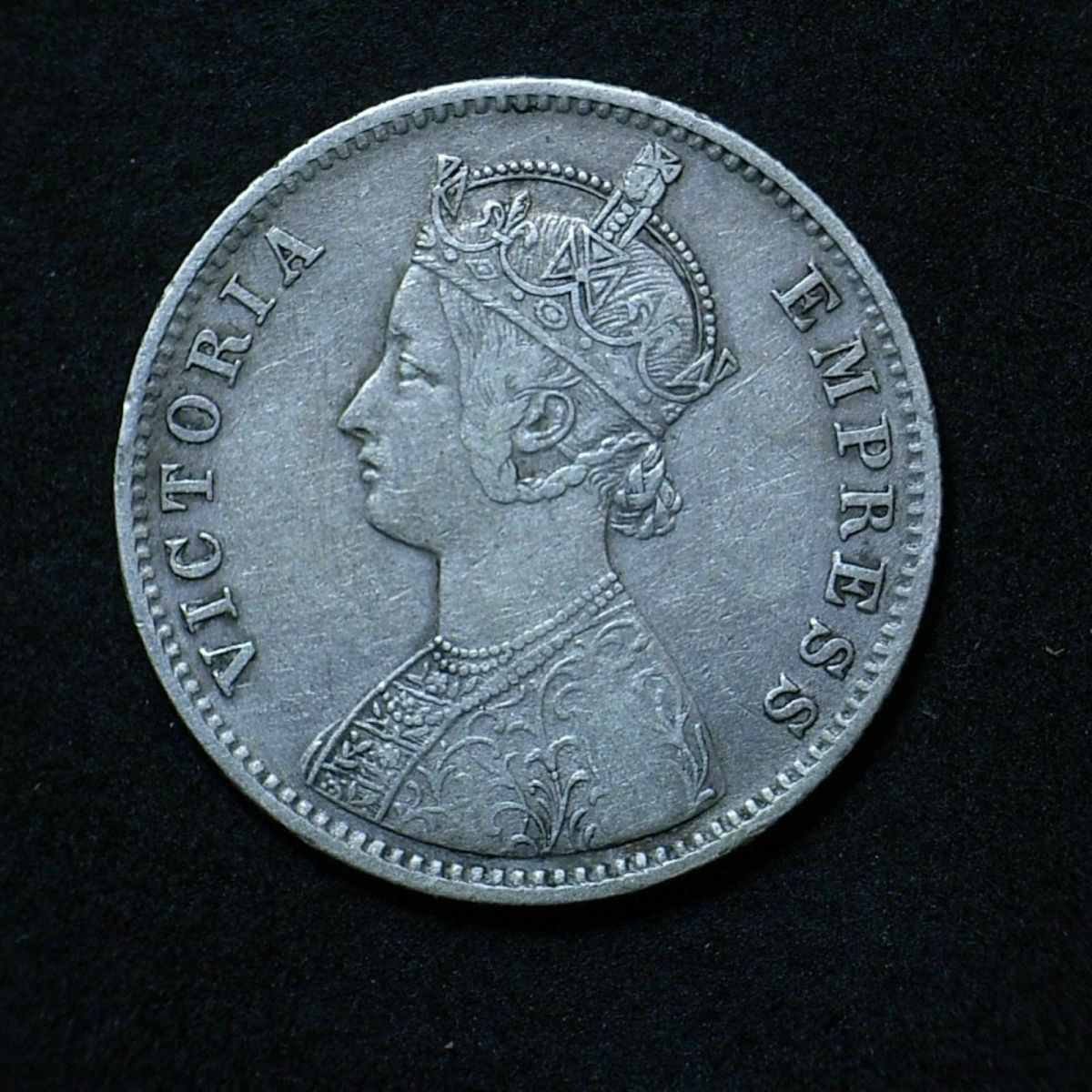 India Rupee 1891 obverse showing the coin's overall appearance