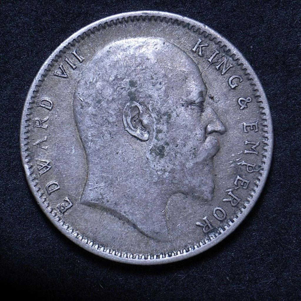 Close up of 1904 Indian rupee showing the coin's detail