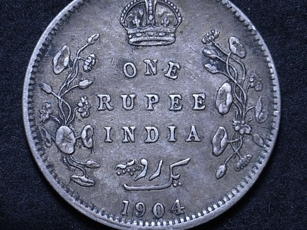 Close up of 1904 Indian rupee reverse showing the coin's detail