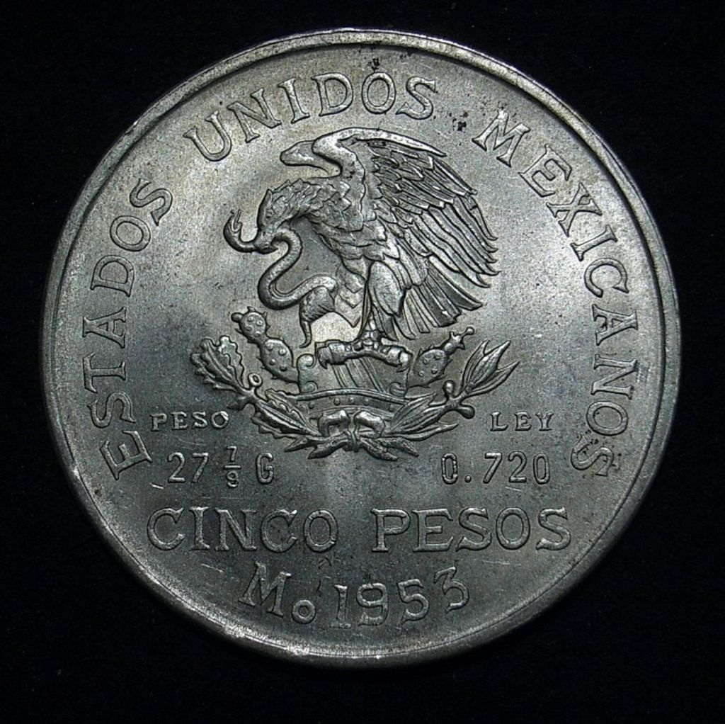 Close up of 1953 Mexican 5 peso reverse highlighting the coin's lustre and detail