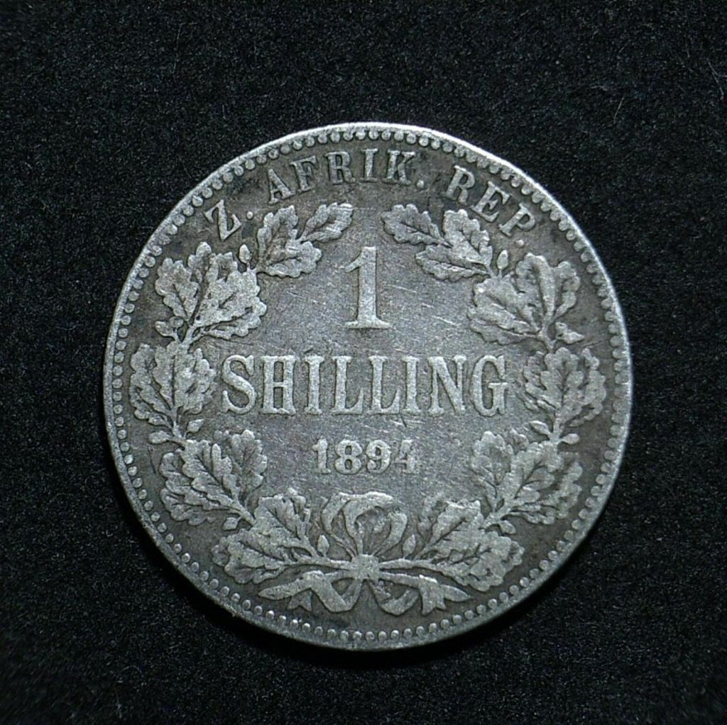 Sth African 1894 shilling reverse close up showing the coin's detail