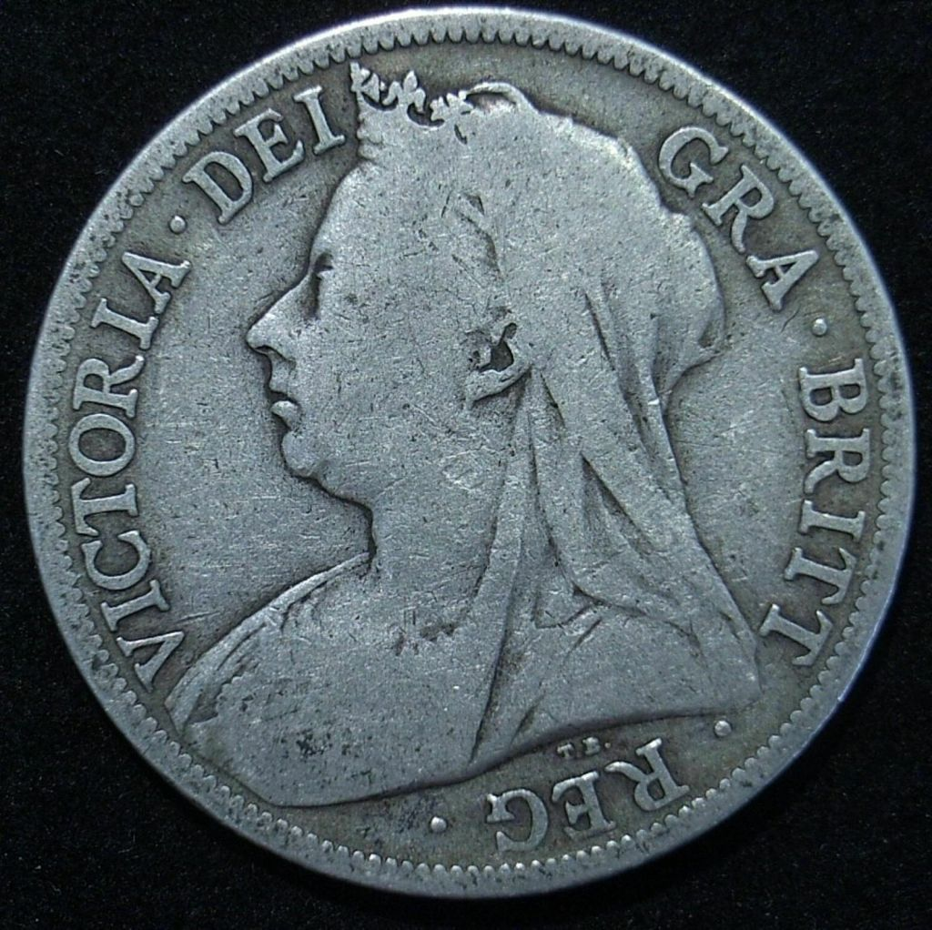UK 1896 Half Crown obverse close up showing the remaining detail on the coin