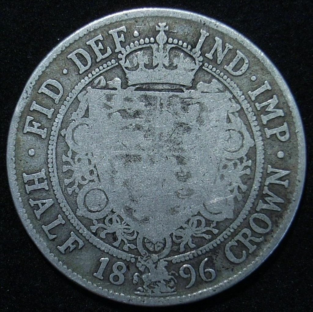 UK 1896 Half Crown reverse close up showing the remaining detail on the coin