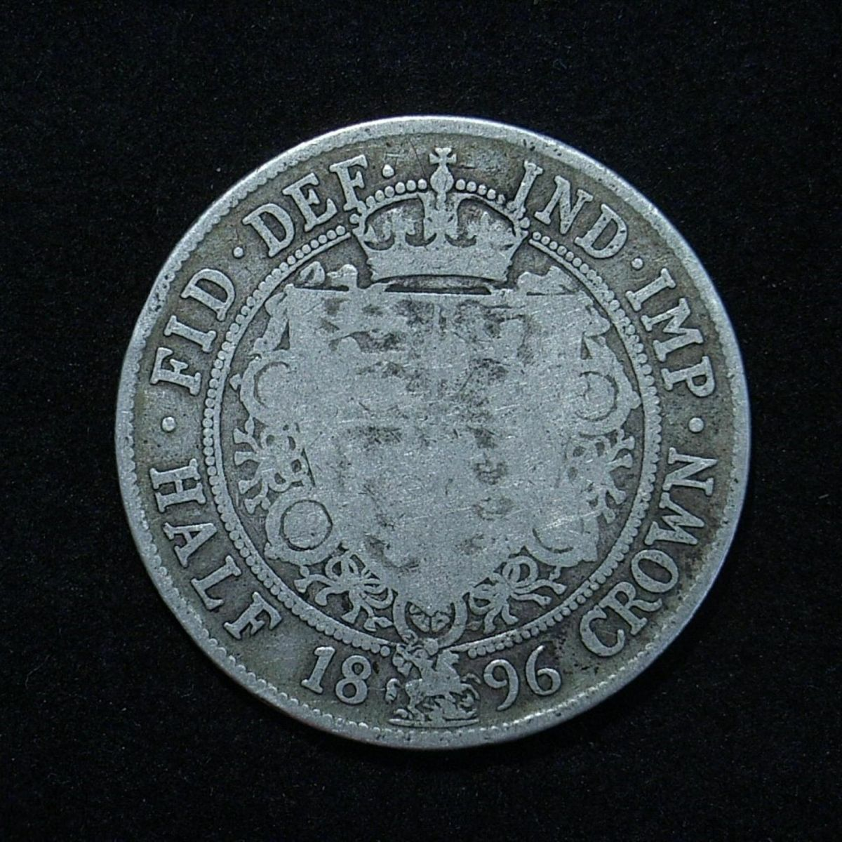 UK 1896 Half Crown reverse close up