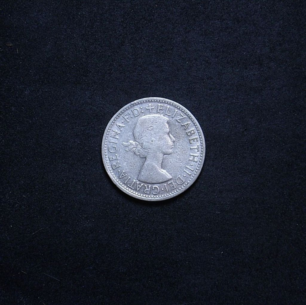 Aus Florin 1956 obverse showing overall appearance