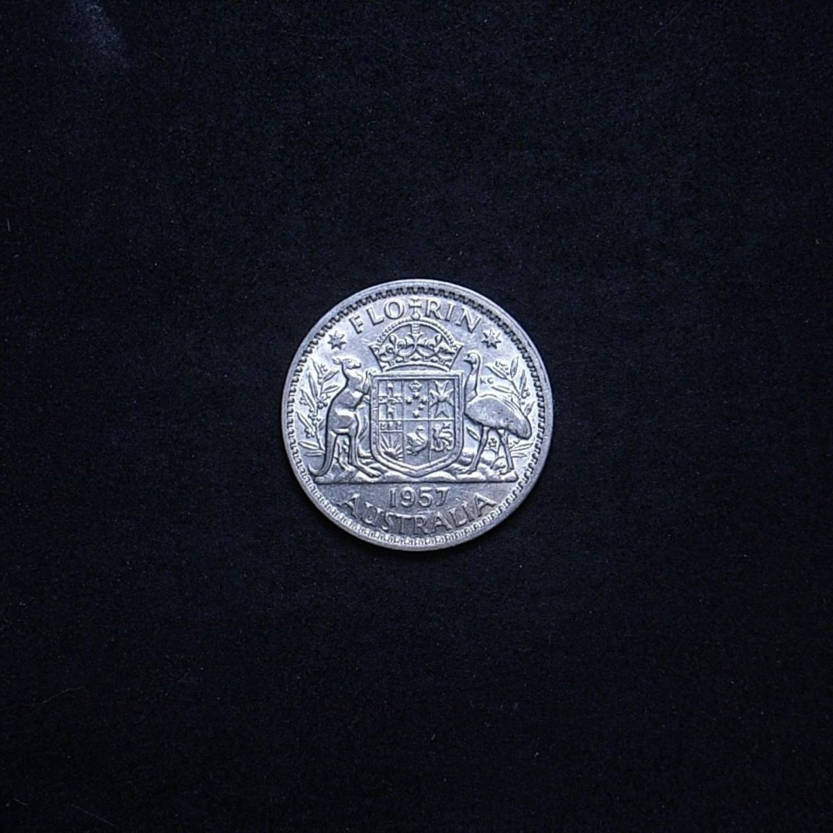 Aus Florin 1957 reverse showing overall appearance