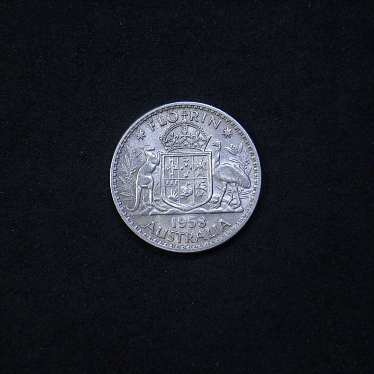 Aus Florin 1958 reverse showing overall appearance and lustre