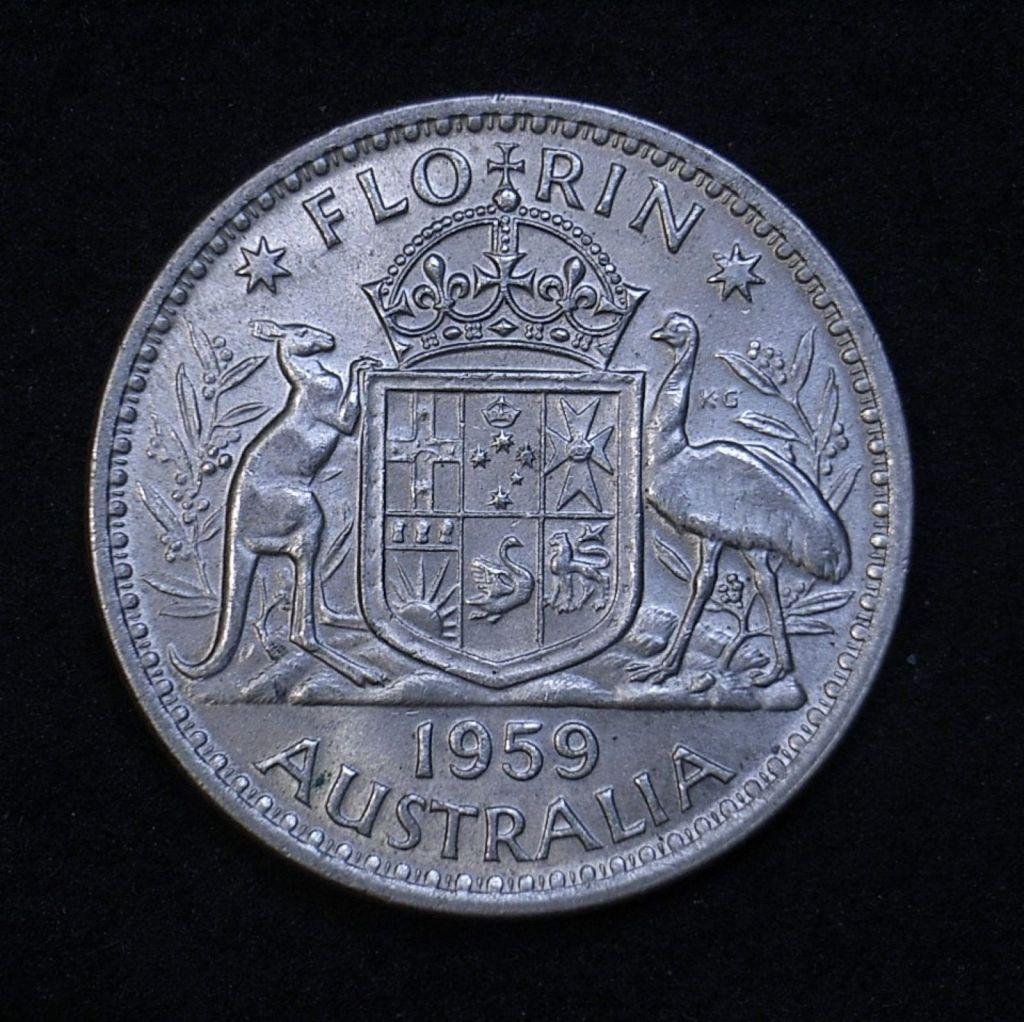 Close up Aus Florin 1959 reverse showing detail