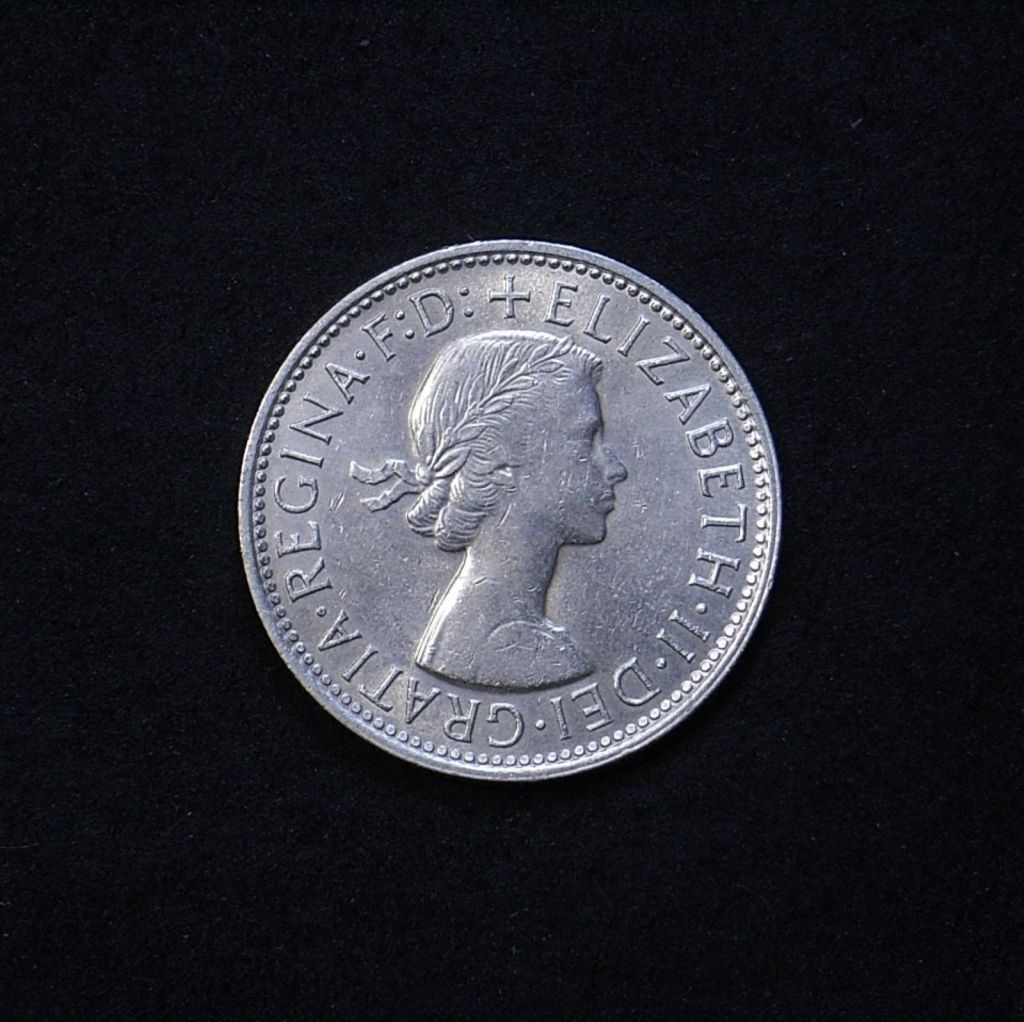 Aus Florin 1960 obverse showing lustre and overall appearance