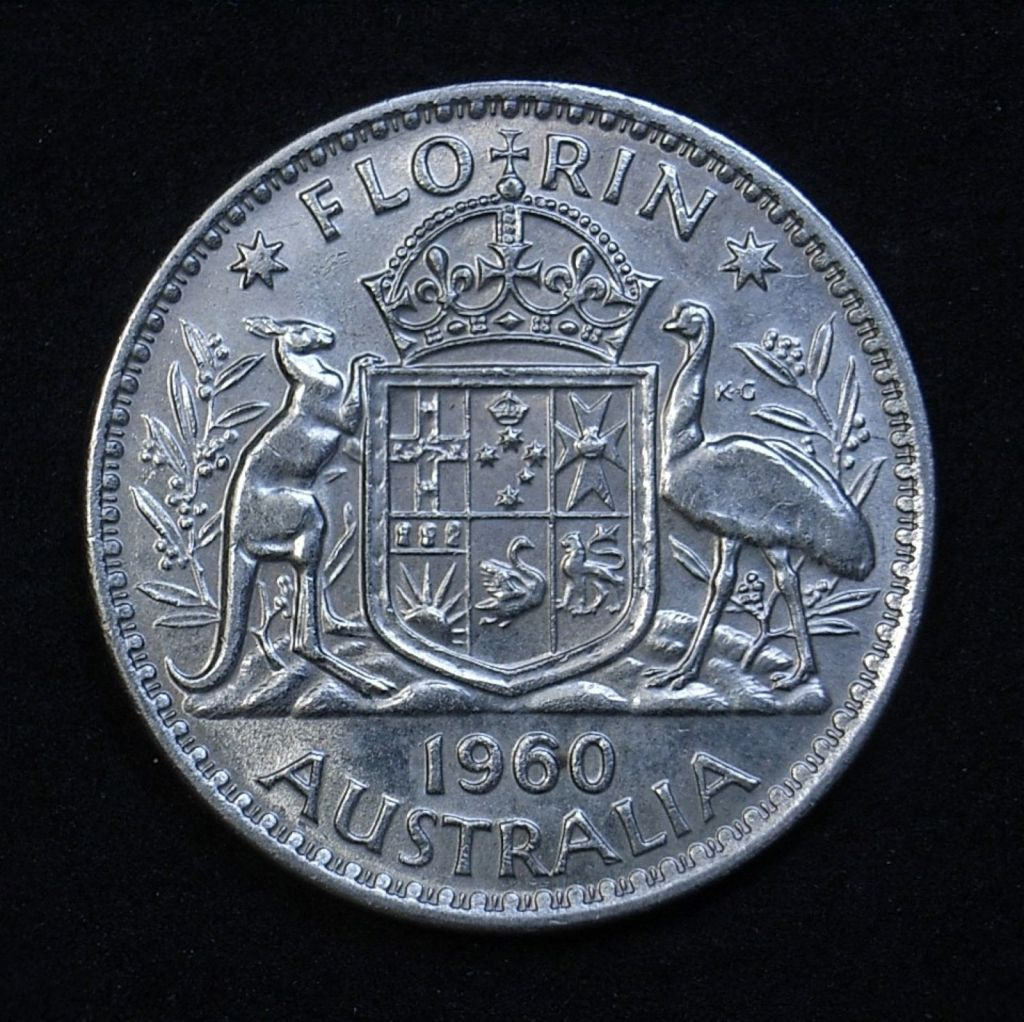 Close up Aus Florin 1960 reverse showing detail