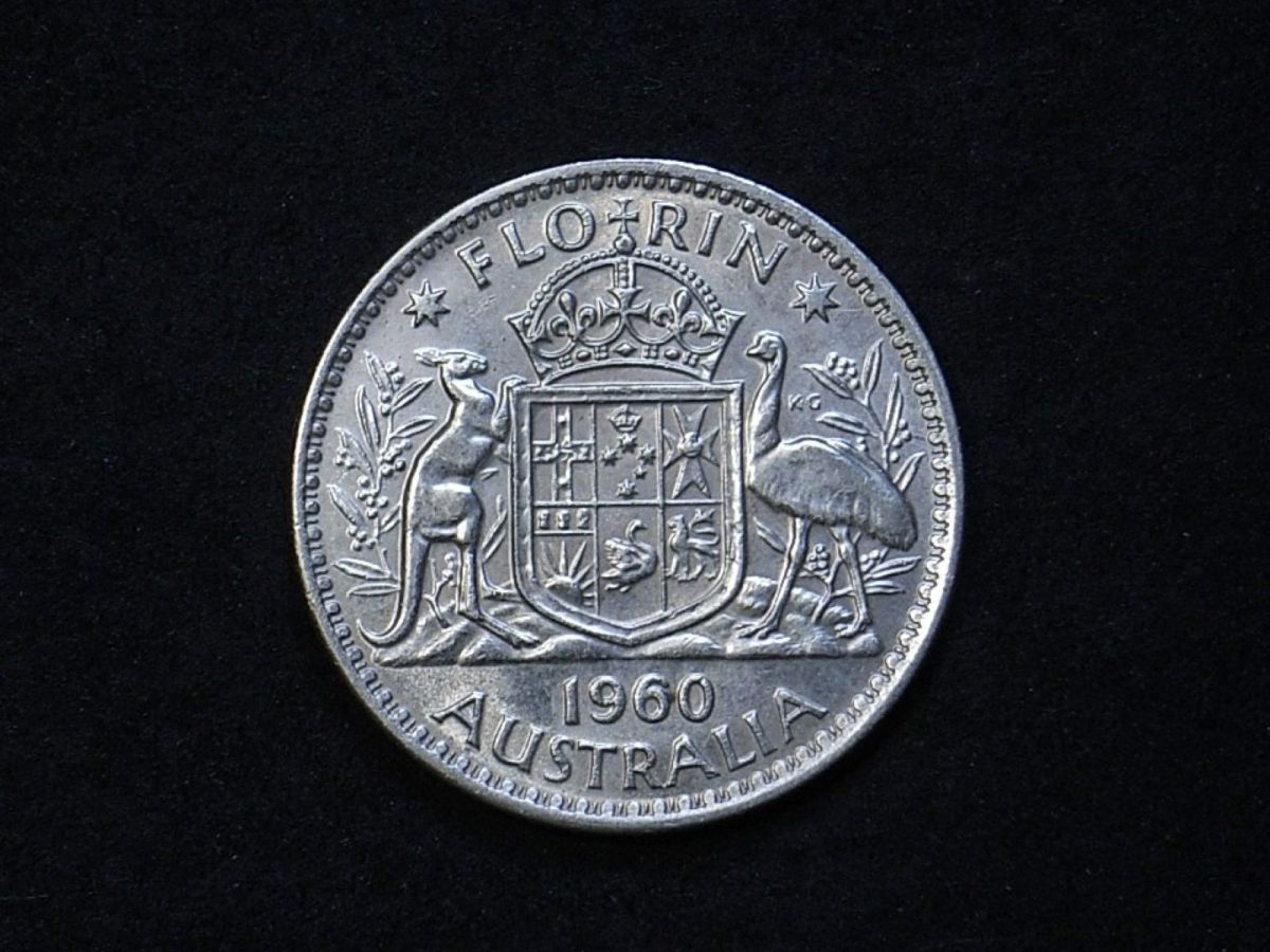 Aus Florin 1960 reverse showing lustre and overall appearance