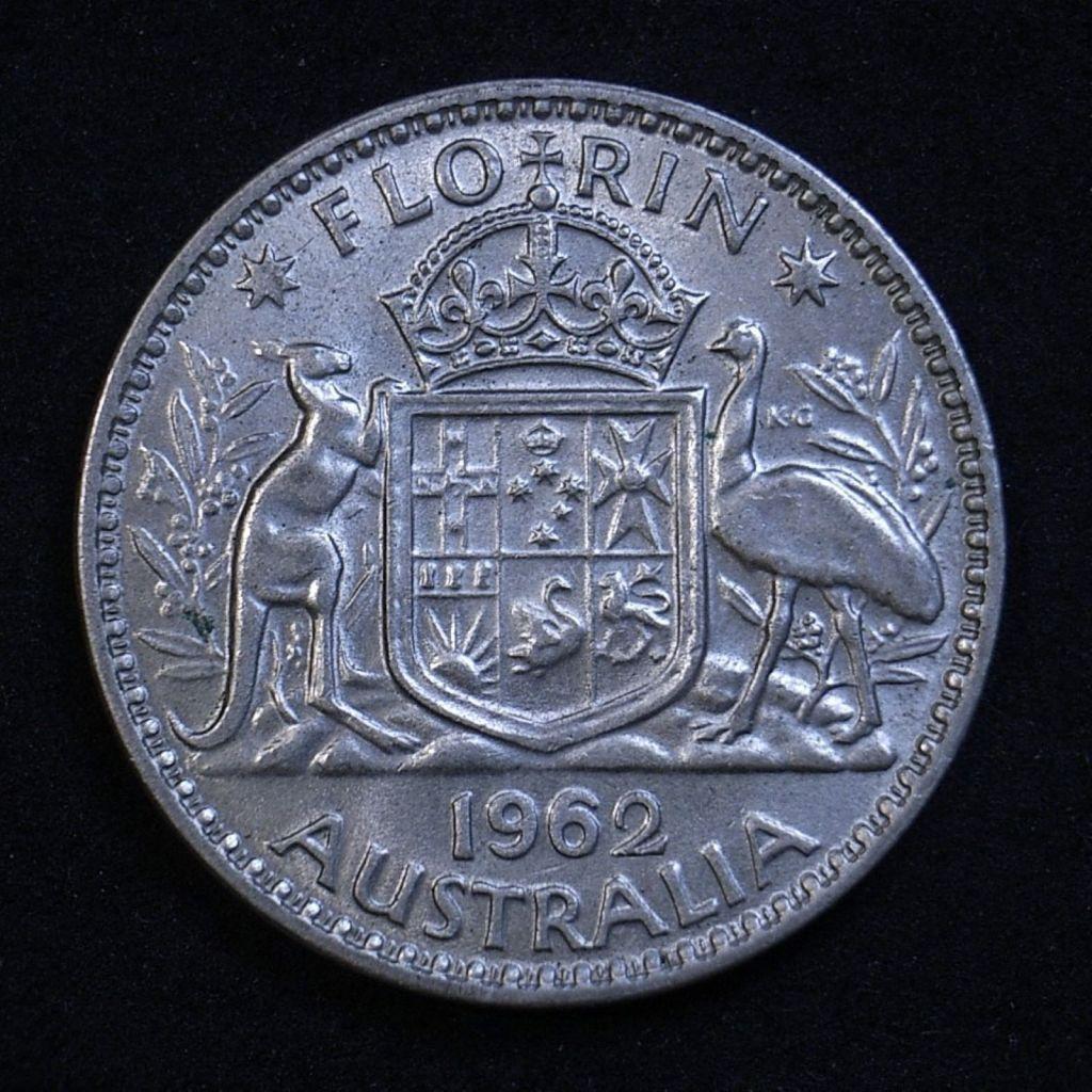 Close up Aus Florin 1962 reverse showing detail