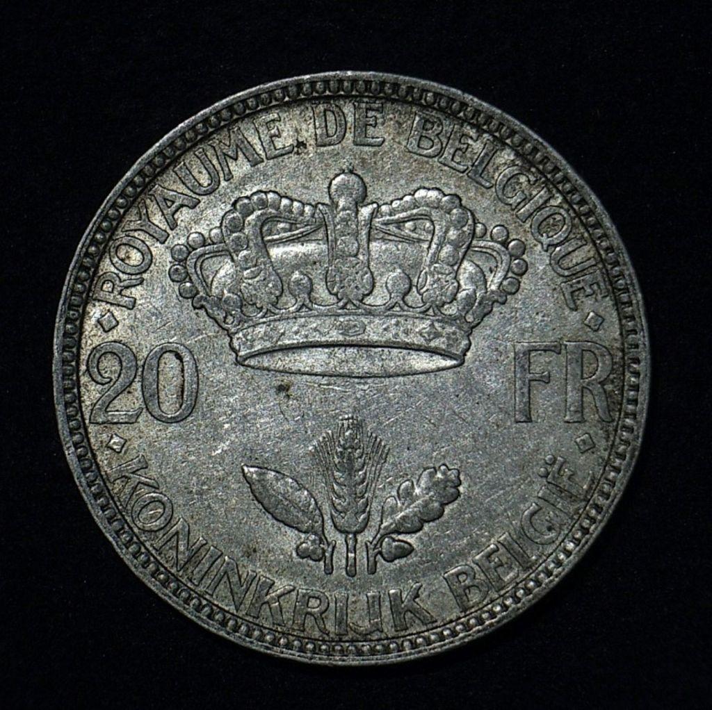 Close up Belgium 20 Francs 1935 reverse