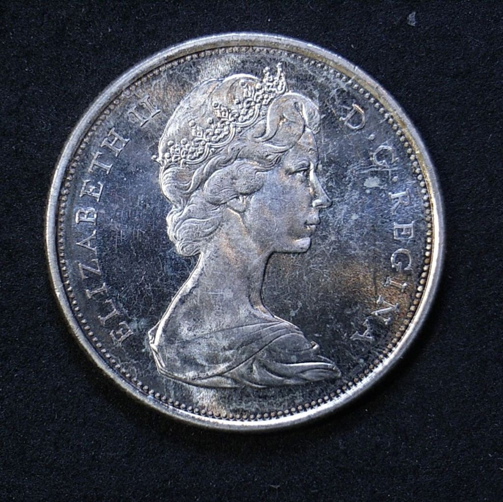 Close up Canada 50 cents 1967 obverse showing detail