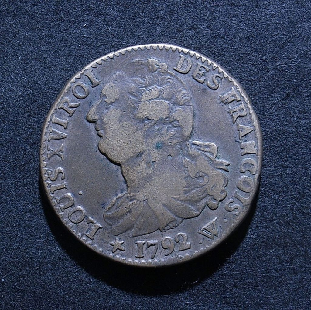 Close up of France 2 sous 1792 obverse