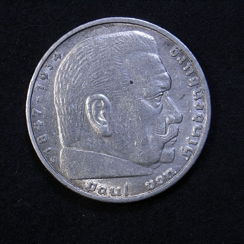Close up Germany 5 marks 1936G obverse showing detail