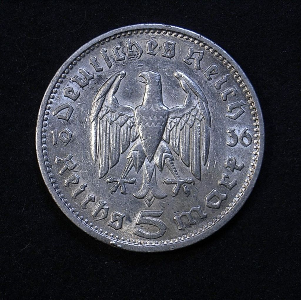 Close up Germany 5 marks 1936G reverse showing detail