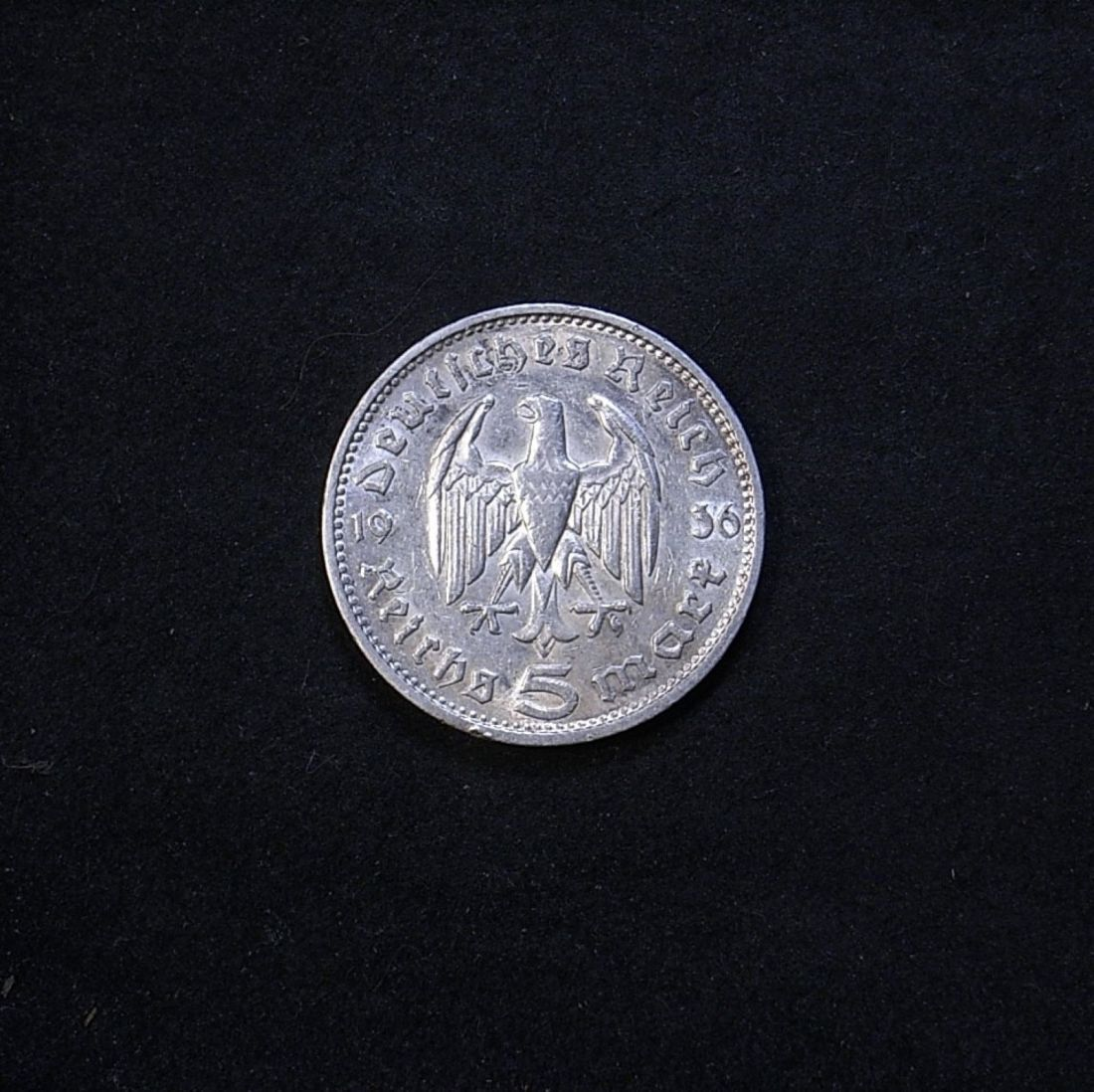 Germany 5 marks 1936G reverse showing overall appearance