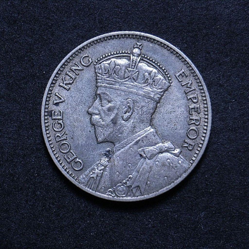 Close up NZ Shilling 1934 obverse showing detail
