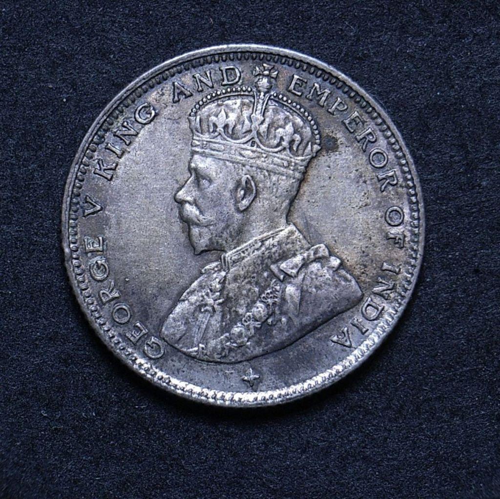 Close up Straits Settlements 10 cents 1919 obverse showing detail