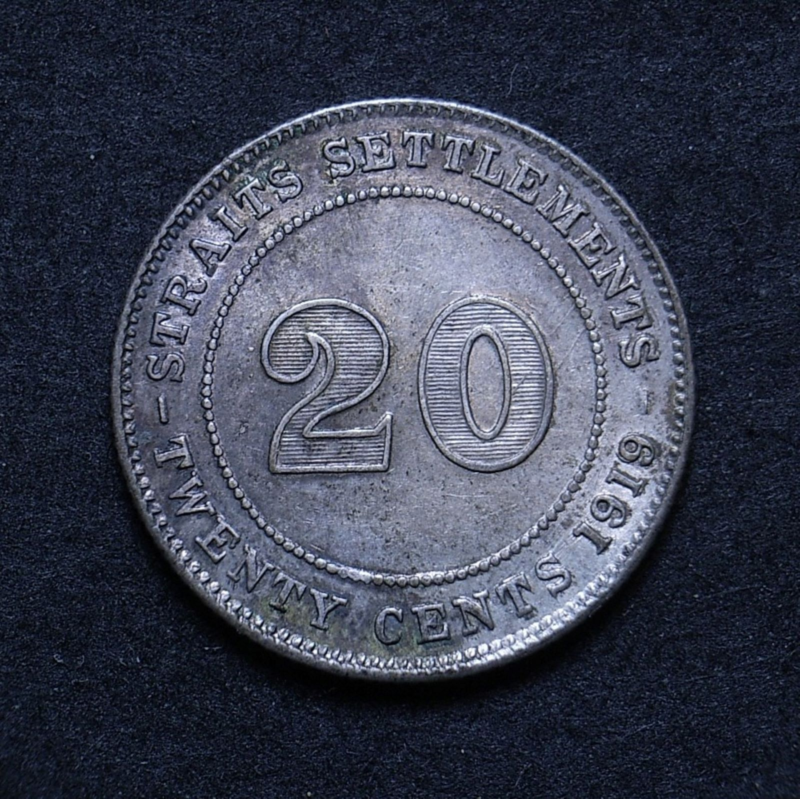 Straits Settlements 10 cents 1919 rev 1