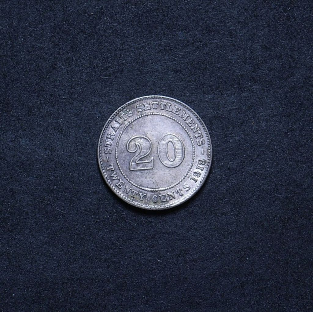 Straits Settlements 10 cents 1919 reverse showing overall appearance