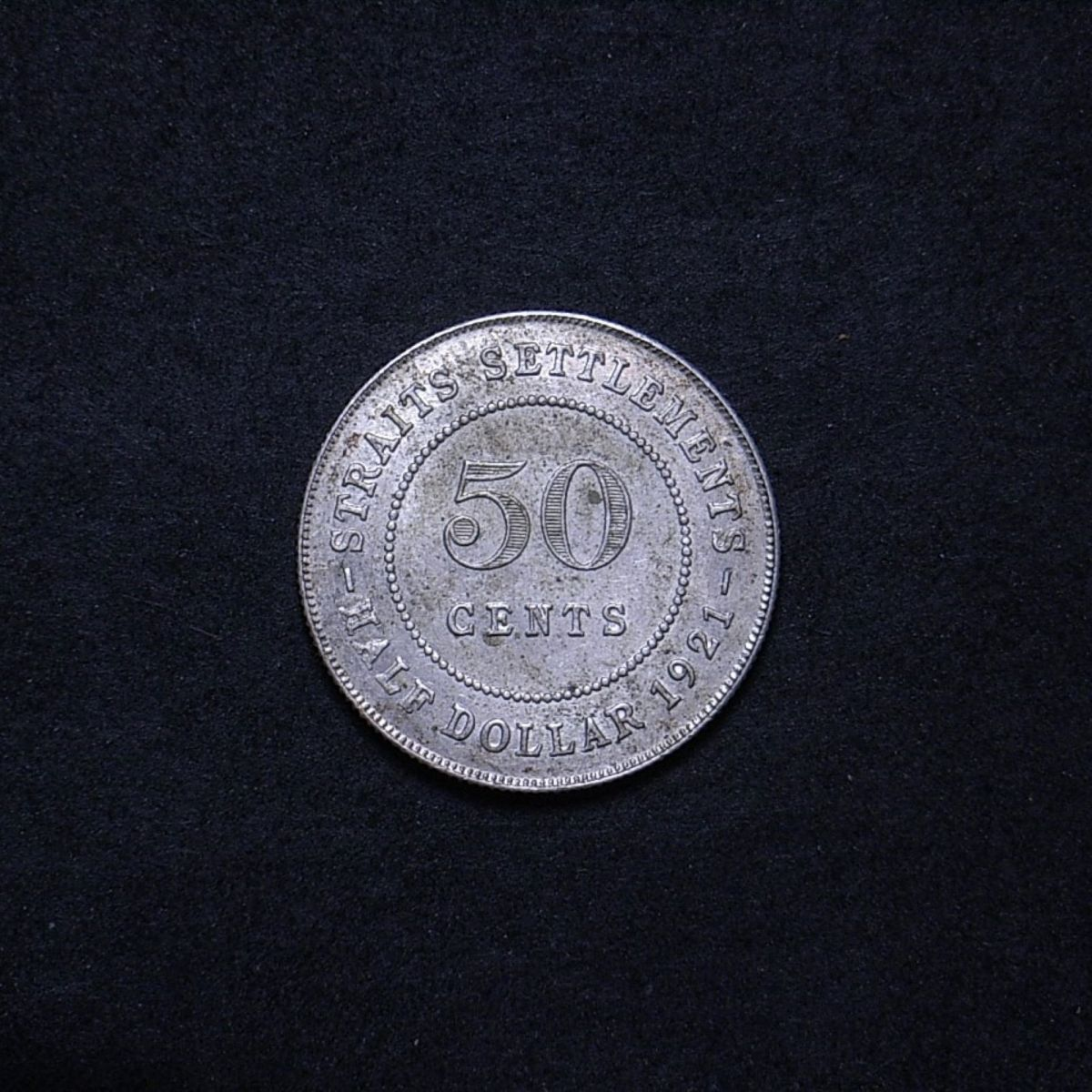 Straits Settlements 50 cents 1921 reverse showing overall appearance