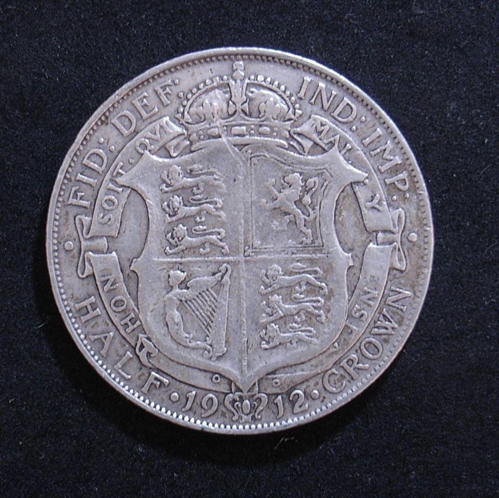 Close up UK Half Crown 1912 reverse showing detail