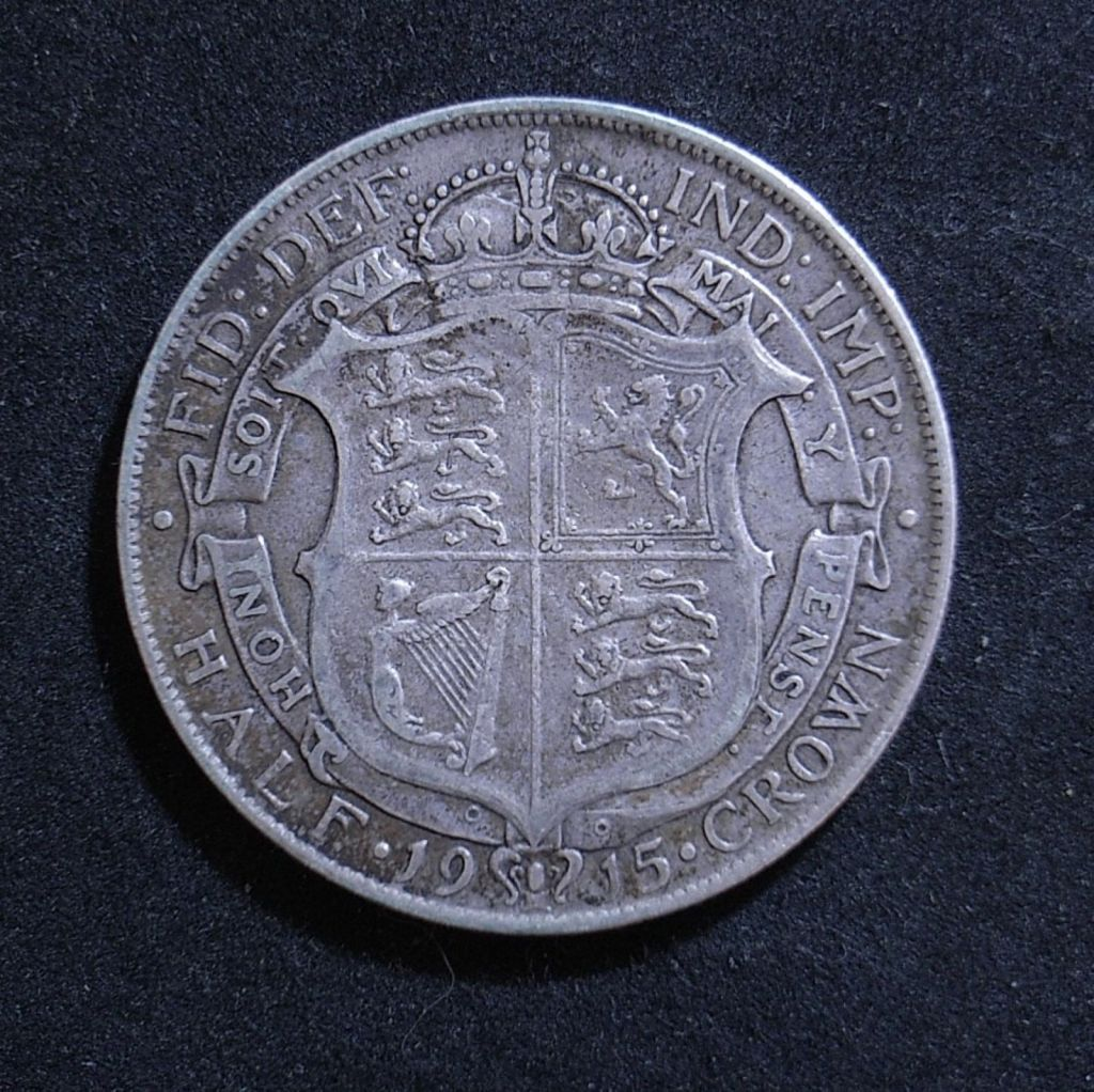 Close up UK Half Crown 1915 reverse showing detail