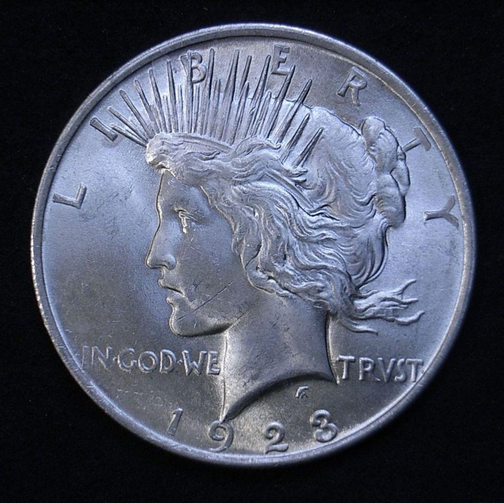 Close up US Peace Dollar 1923-P obverse showing detail