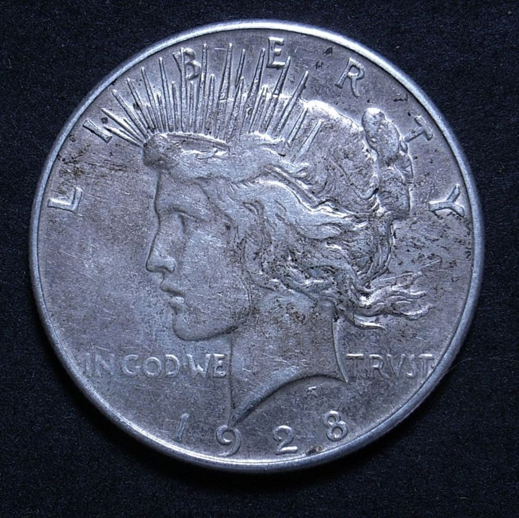 Close up US Peace Dollar 1928-S obverse showing detail