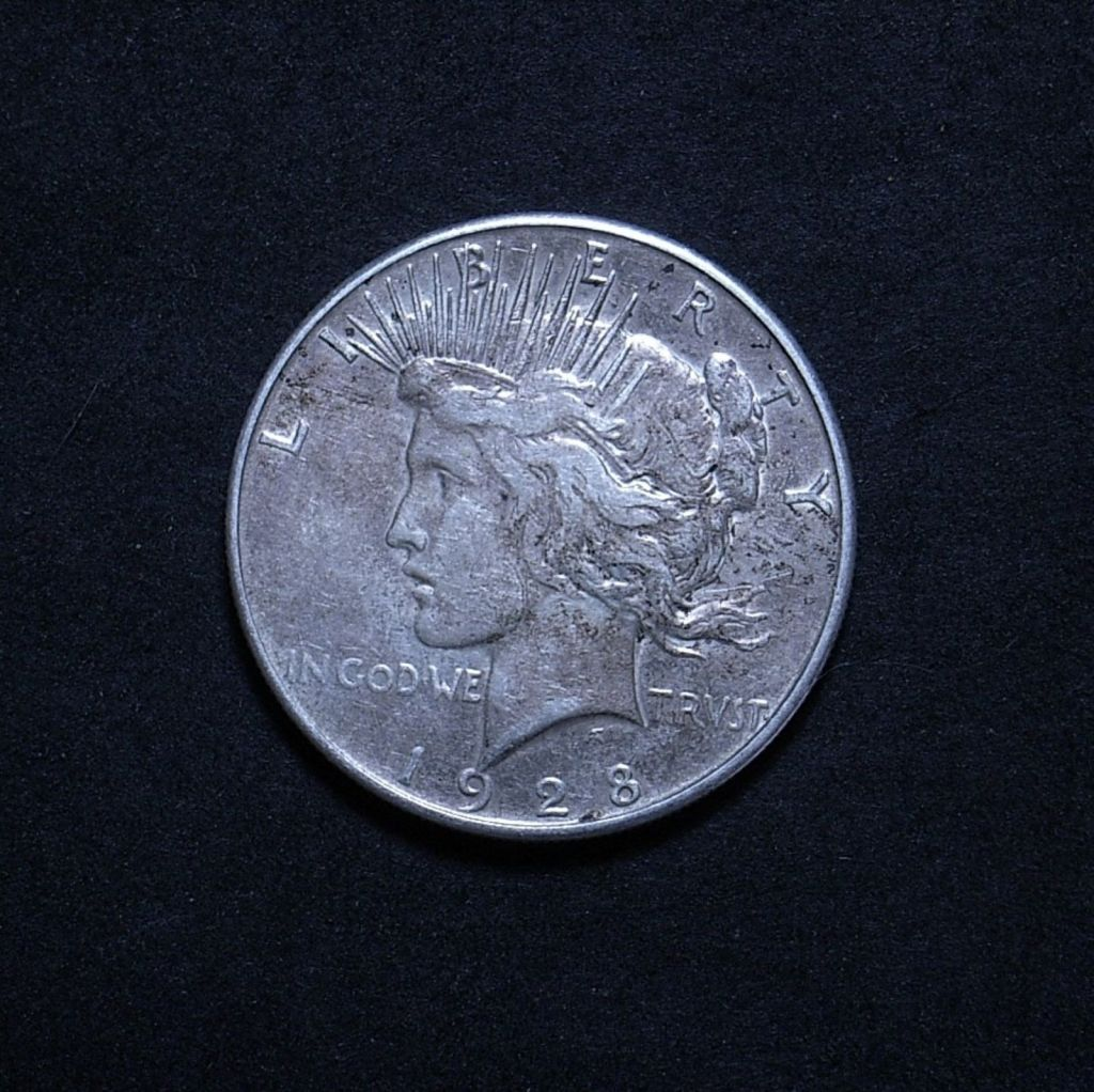 US Peace Dollar 1928-S obverse showing overall appearance