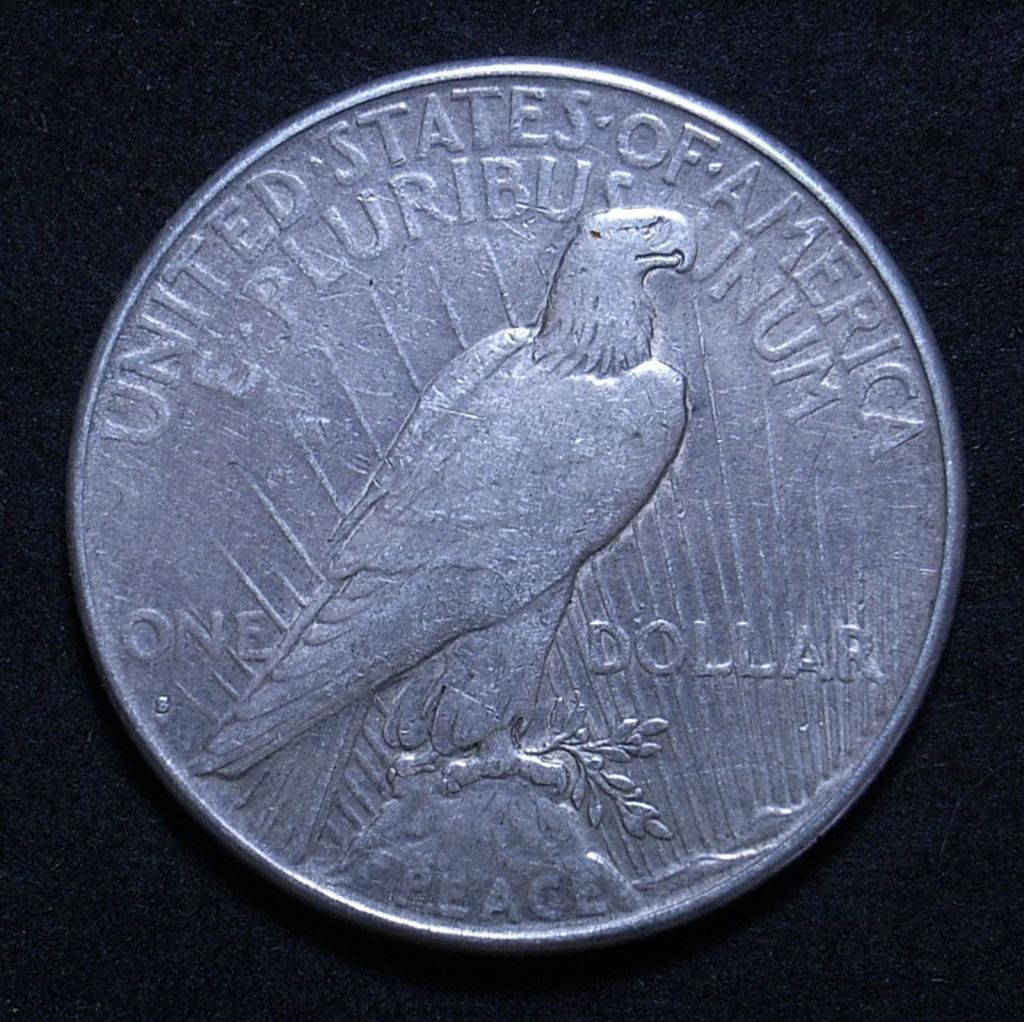 Close up US Peace Dollar 1928-S reverse showing detail