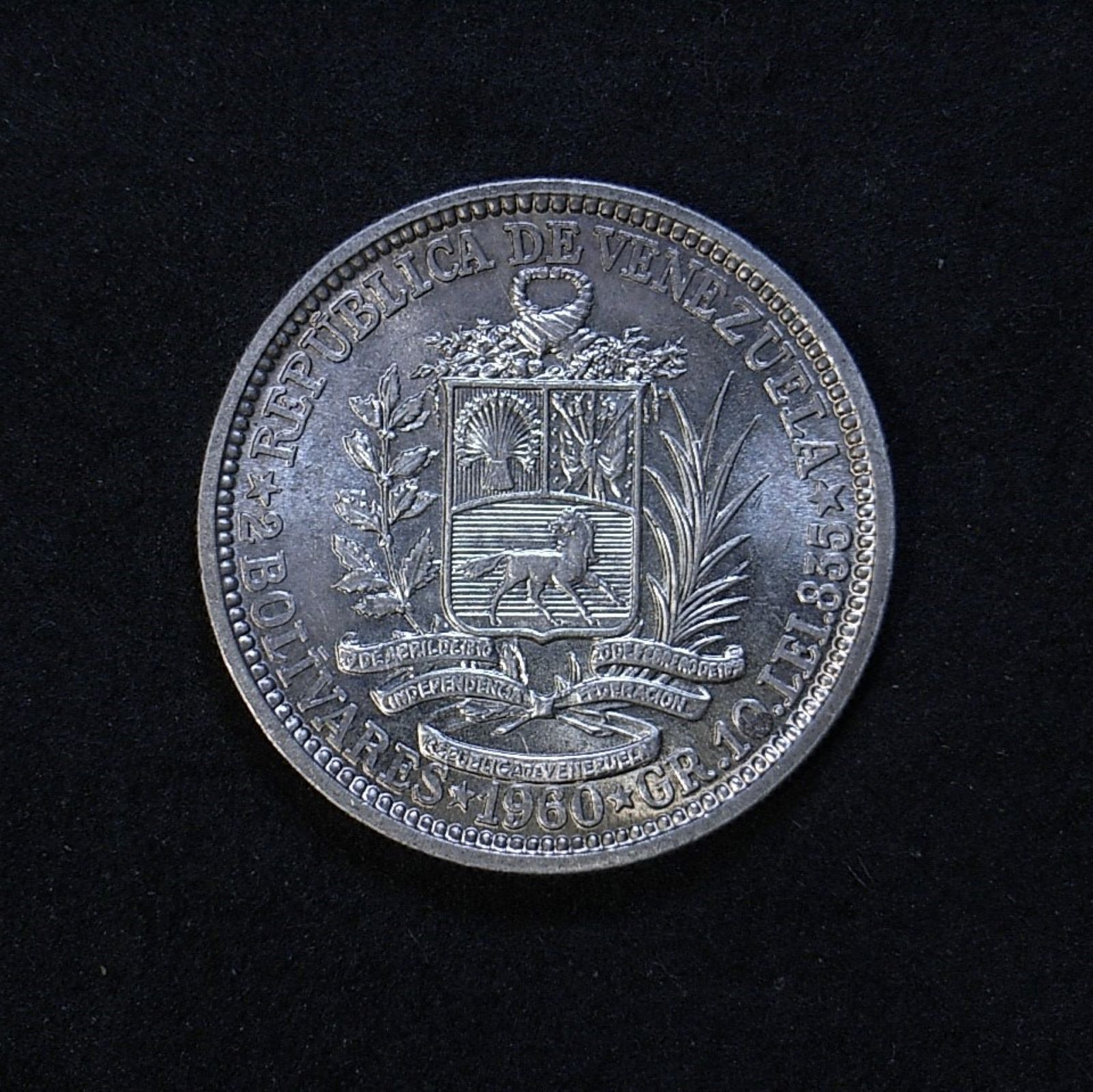 Venezuela 2 Bolivars 1960 rev 1