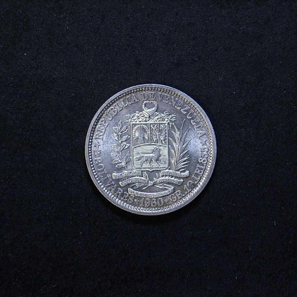 Venezuela 2 Bolivars 1960 reverse showing overall appearance