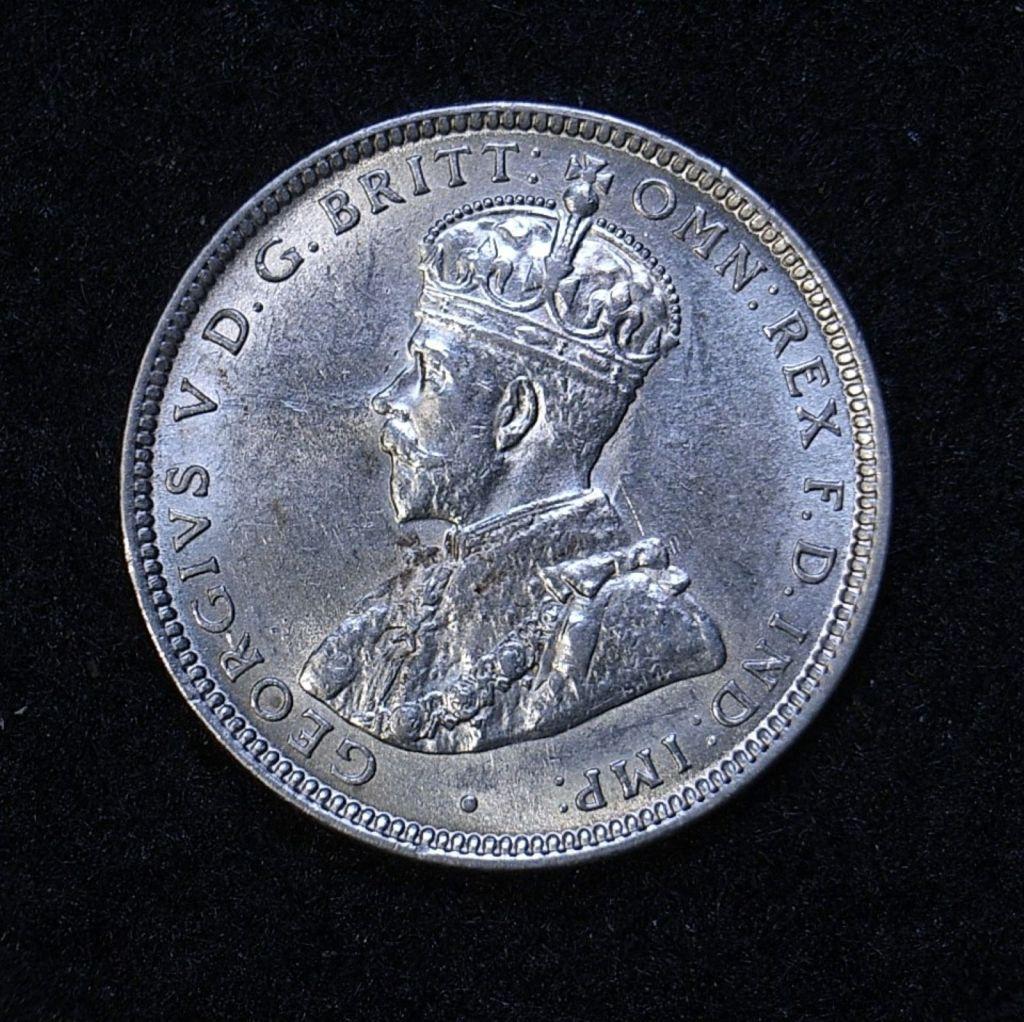 Close up Aus Shilling 1916m obverse showing detail