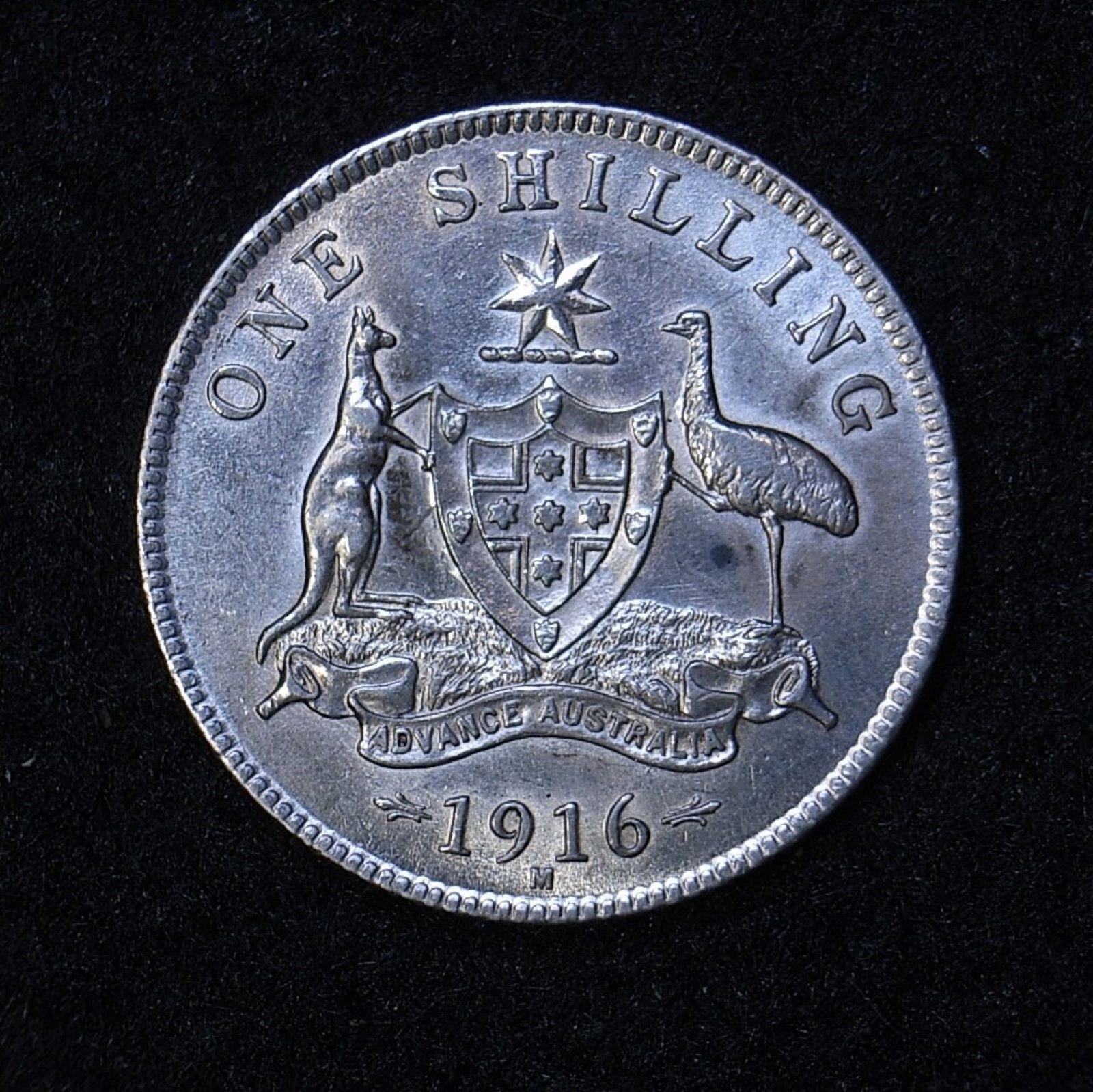 Aus Shilling 1916m rev 1