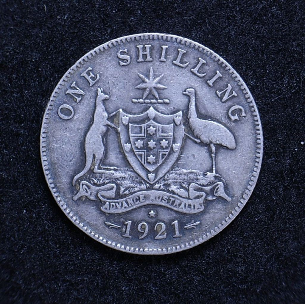 Close up Aus Shilling 1921 star reverse showing detail