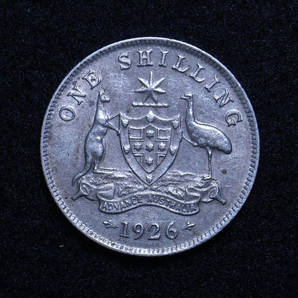 Close up Aus Shilling 1926 reverse showing detail