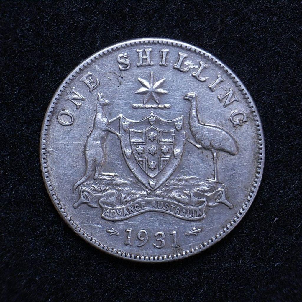 Close up Aus Shilling 1931 reverse showing detail
