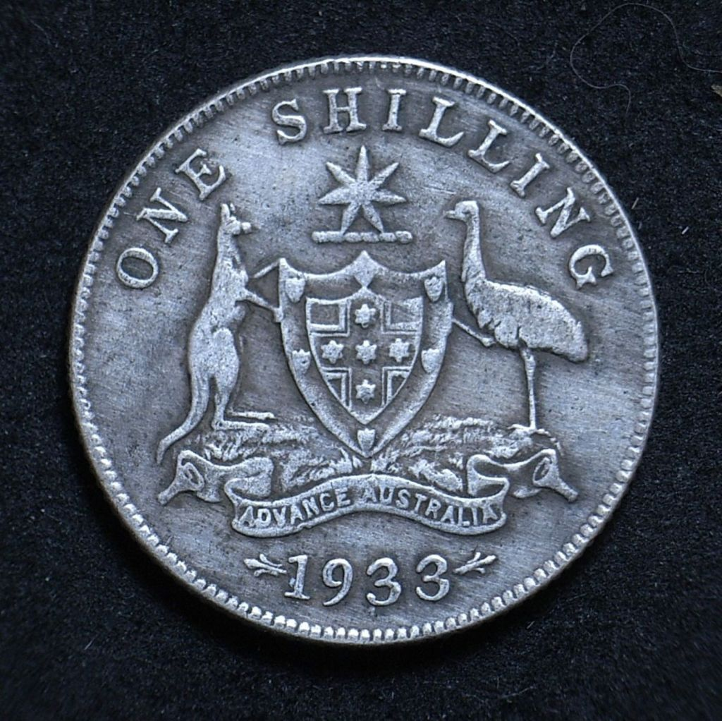 Close up Aus Shilling 1933 reverse showing detail