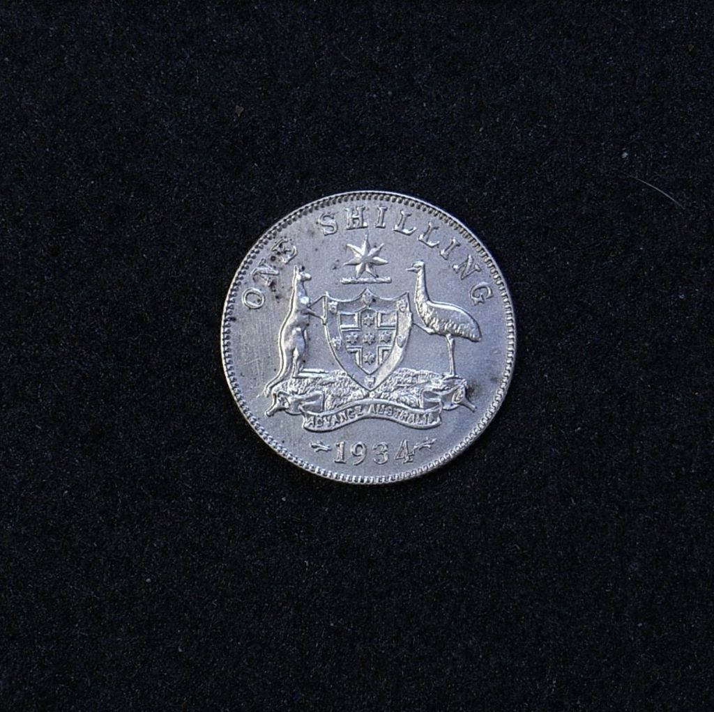 Aus Shilling 1934 reverse showing overall appearance