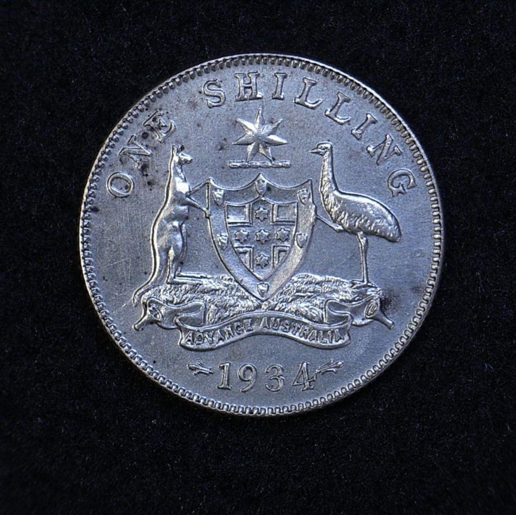 Close up Aus Shilling 1934 reverse showing detail