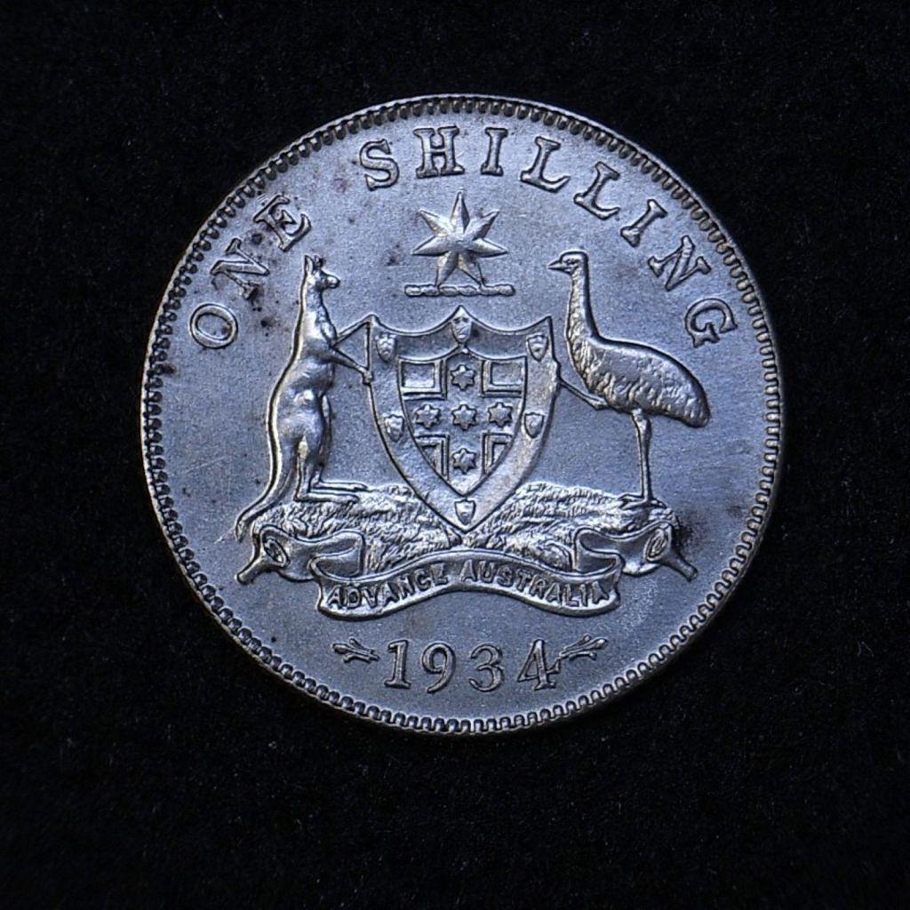 Close up 2 Aus Shilling 1934 reverse