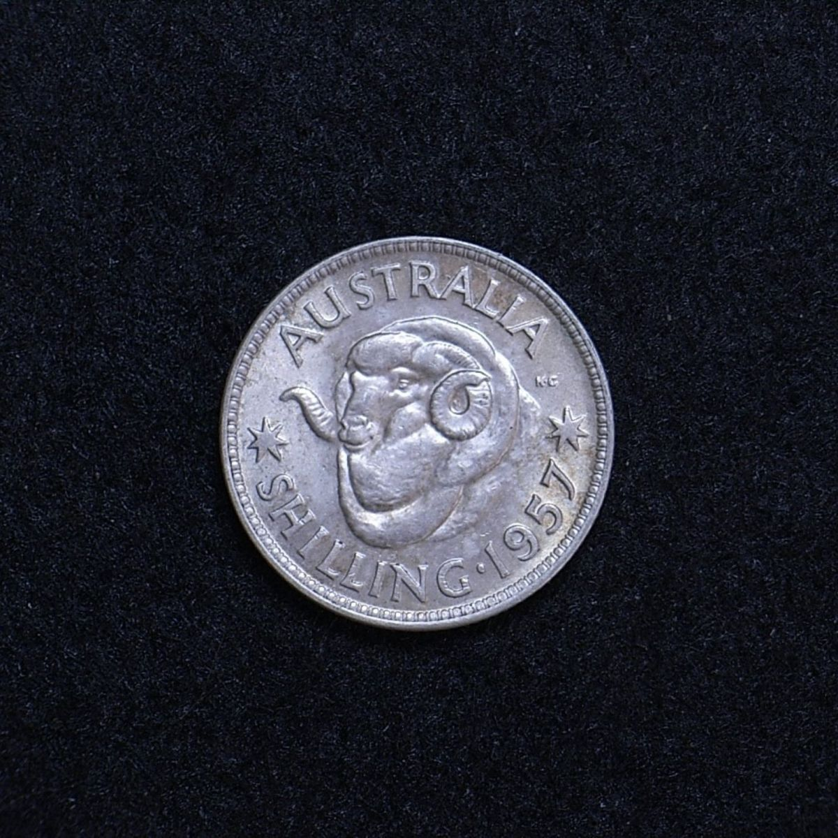 Aus shilling 1957 reverse showing overall appearance