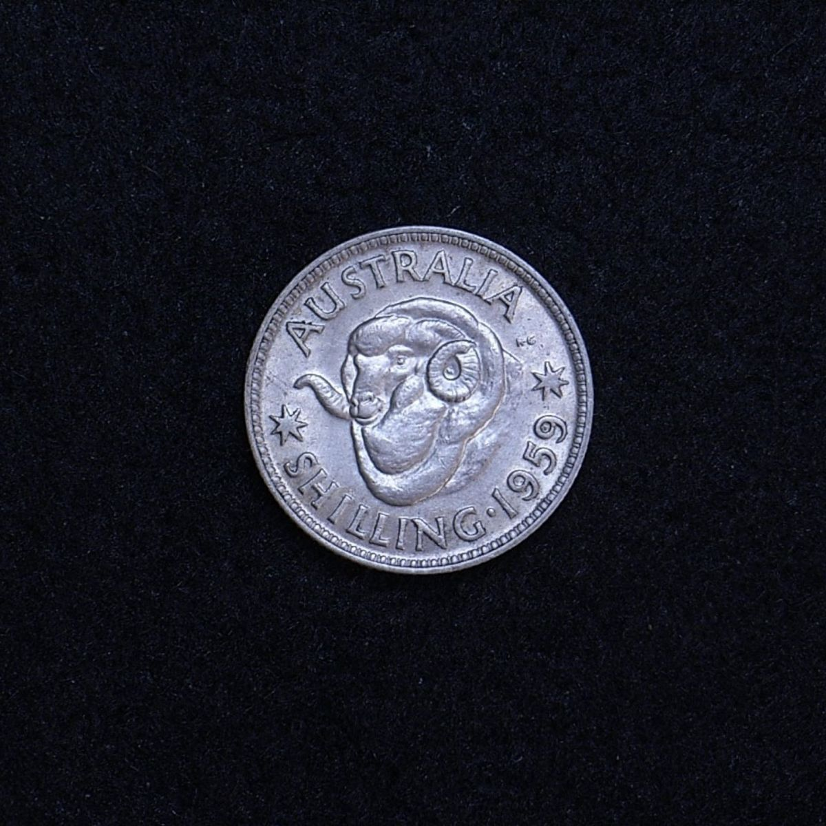 Aus shilling 1959 reverse showing overall appearance
