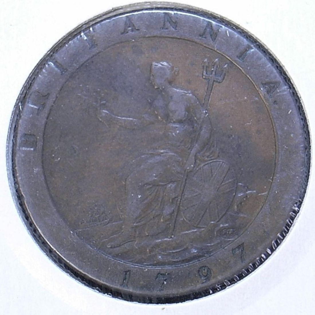Close up UK 1797 cartwheel penny reverse